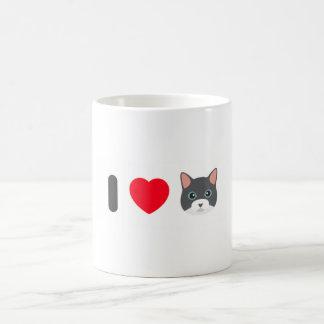Caneca branca clássica 325 ml - Design Eu amo gato