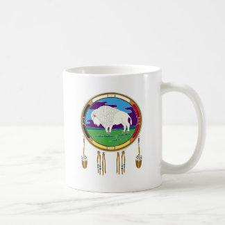 Caneca branca do nativo americano do búfalo