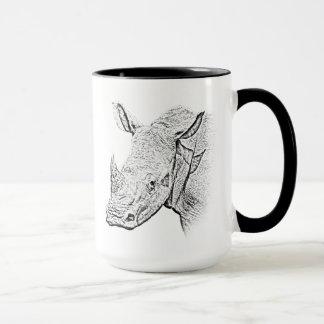 Caneca branca do rinoceronte - série de África