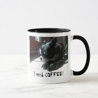 Caneca Café das necessidades de Boston Terrier