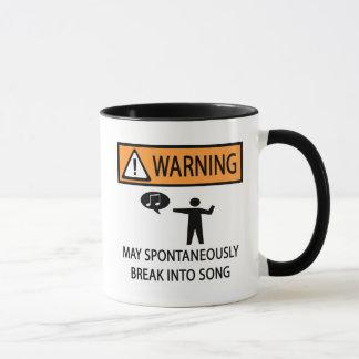 Caneca Cantor espontâneo de advertência