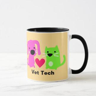 Caneca Cão da tecnologia do veterinário & gato & coração