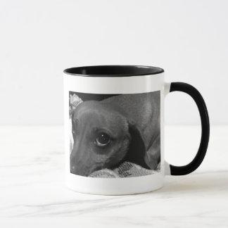 Caneca Cão do Dachshund com os olhos tristes em preto e