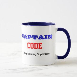 Caneca Capitão Código Programming Super-herói Programador