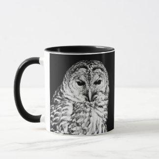 Caneca Cara preto e branco da coruja barrada