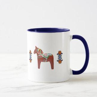 Caneca Cavalo de Dala do sueco com norueguês Rosemaling