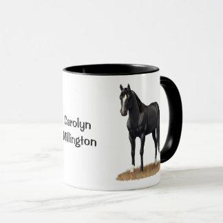 Caneca Cavalo de um quarto preto bonito