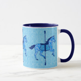 Caneca Cavalo do carrossel - cobalto e azul-céu