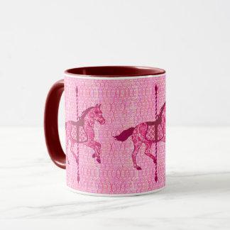 Caneca Cavalo do carrossel - rosa do fúcsia