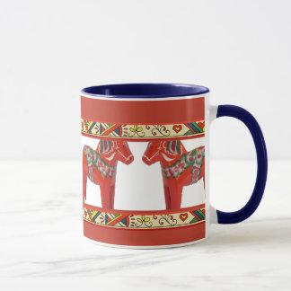 Caneca Cavalos de Dala do sueco com beira da arte popular