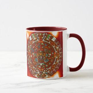 caneca cerâmica do calendário asteca maia