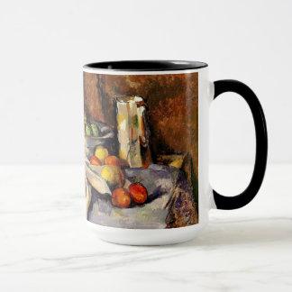 Caneca Cezanne - ainda vida, cargo, garrafa, copo e fruta