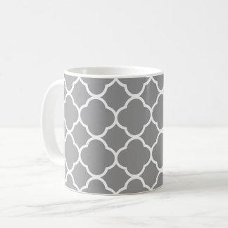 Caneca cinzenta & branca chique do chá do café de