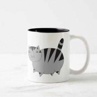 Caneca cinzenta gorda lunática do gato de gato