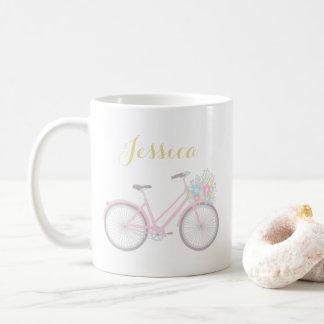 Caneca clássica Pastel bonito da bicicleta da flor