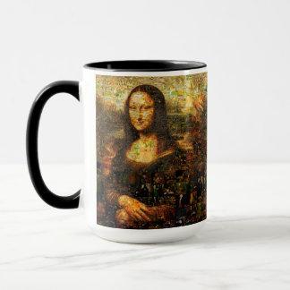 Caneca colagem de Mona lisa - mosaico de Mona lisa - Mona