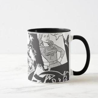 Caneca Colagem preto e branco de Supergirl