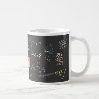 Caneca colorida da fórmula da matemática