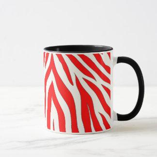 Caneca combinado com design vermelho da zebra