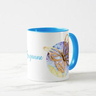 Caneca combinado personalizada com borboleta