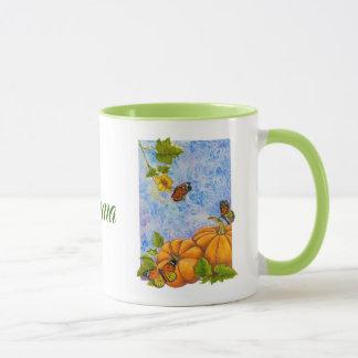Caneca combinado personalizada com borboletas
