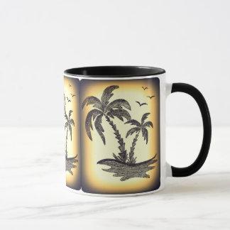Caneca combinado preta com palmeiras
