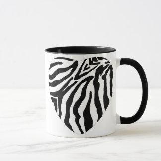 Caneca Copo de café do coração do impressão da zebra