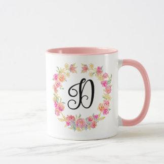 Caneca cor-de-rosa bonito da grinalda da flor do