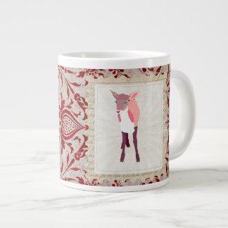 Caneca cor-de-rosa da arte da jovem corça dos namo caneca de café muito grande