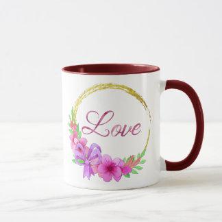 Caneca cor-de-rosa da grinalda das flores do amor