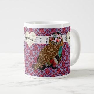 Caneca cor-de-rosa da mamã da coruja canecas de café muito grande