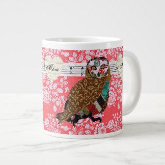 Caneca cor-de-rosa da mamã do rosa da coruja jumbo mug
