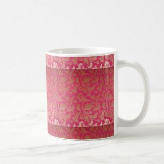 Caneca cor-de-rosa do impressão de brocado