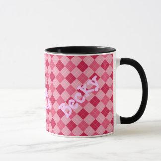 Caneca cor-de-rosa do monograma de Argyle