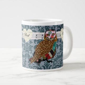 Caneca cor-de-rosa do pai do damasco da coruja canecas de café muito grande
