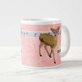 Caneca cor-de-rosa do rosa dos cervos do ouro canecas de café muito grande