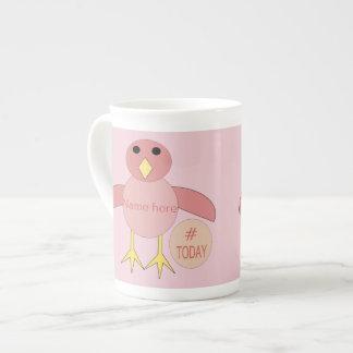 Caneca cor-de-rosa feita sob encomenda do pintinho