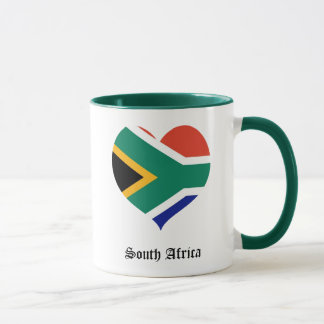 Caneca Coração da bandeira de África do Sul