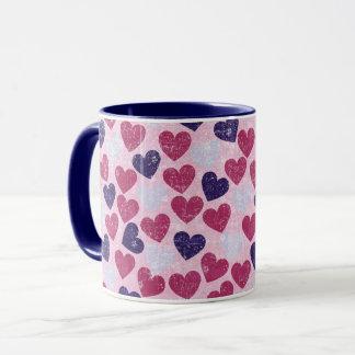 Caneca Coração roxo e cor-de-rosa