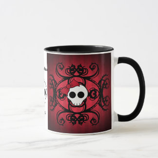 Caneca Crânio gótico bonito no vermelho e no preto