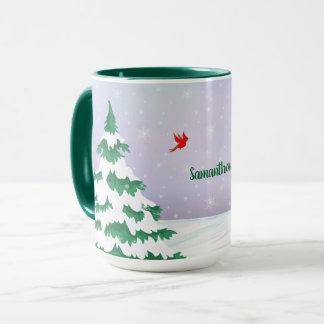 Caneca Cumprimento do Natal dos cardeais do inverno