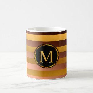 Caneca customizável do monograma, ouro