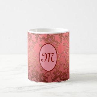 Caneca customizável do monograma, rosa, ouro