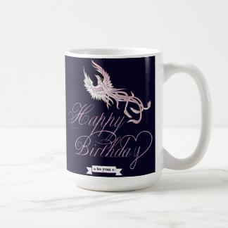Caneca customizável do pássaro de Phoenix do feliz