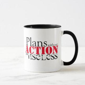 Caneca da ação do plano