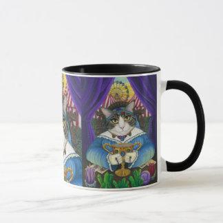 Caneca da arte do cartão de Tarot do gato do caixa