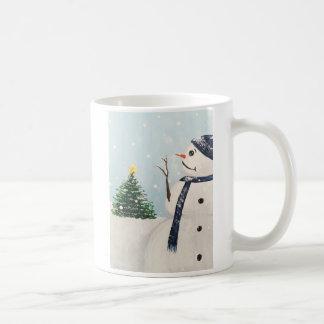 Caneca da árvore de Natal do boneco de neve