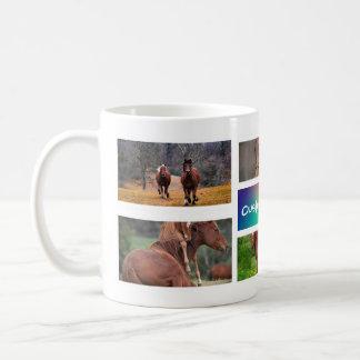 Caneca da foto da colagem do cavalo