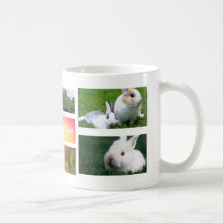 Caneca da foto da colagem do coelho