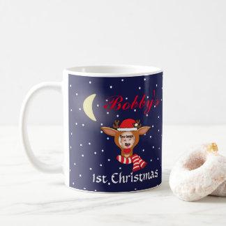 Caneca da imagem de Rudolph do Natal do bebê ?a